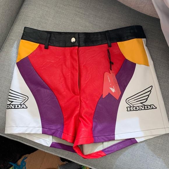 3f433a6ddad6c Forever 21 Shorts   Honda Faux Leather Colorblock   Poshmark